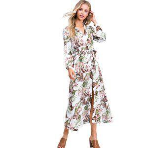 Ivory Tropical Print Long Sleeve Boho Maxi Dress